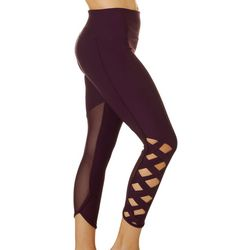 VOGO Womens Lattice & Mesh Capri Leggings