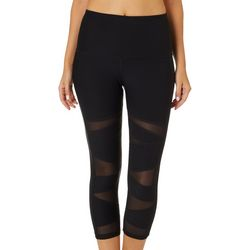 VOGO Womens Solid High Waist Mesh Panel Performance Capris