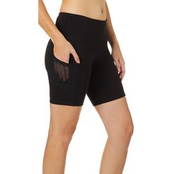 VOGO Womens Lifestyle Solid Knit Mesh Pocket Bike Shorts