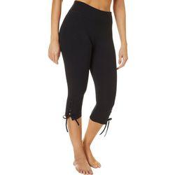 VOGO Womens Solid Performance Lattice Hem Capri Leggings