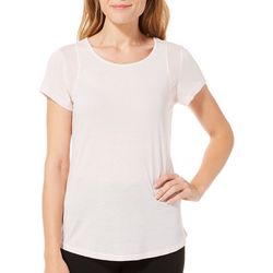 RBX Womens Solid Mesh Detail Round Neck Top