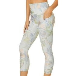 RBX Womens Tropical Palm Print Capri Leggings