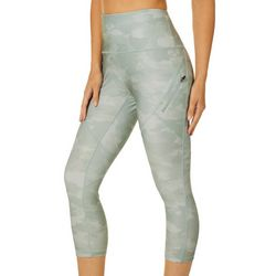 RBX Womens Camo Print Zip Pocket Capri Leggings