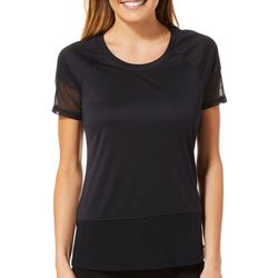 RBX Womens Solid Mesh Round Neck Top