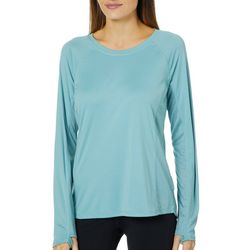 RBX Womens Solid Vented Panel High-Low Long Sleeve Top