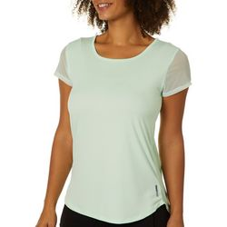RBX Womens Solid Mesh Sleeve Crisscross Back Top