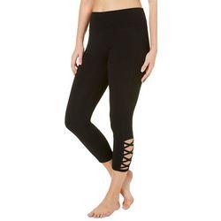 RBX Womens Solid Crisscross Hem Leggings