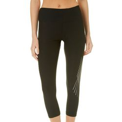 RBX Womens Solid Metallic Stripe Capri Leggings