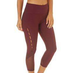 RBX Womens Solid Mesh Side Active Capri Leggings