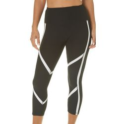 RBX Womens Solid Contrast Trim Capri Leggings