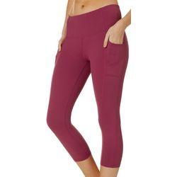 RBX Womens Soild Pocket High Waisted Capri Leggings