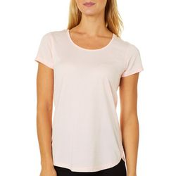 RBX Womens Skinny Stripe Caged Back Short Sleeve Top