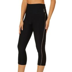 RBX Womens Solid Mesh Panel Side Stripe Capri Leggings