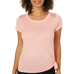 RBX Womens Solid Mesh Back Tie Side Top