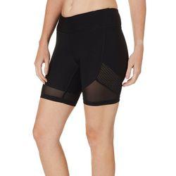 NYL Sport Womens Solid Mesh Side Bike Shorts