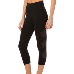 C&C California Womens Starstruck Solid Mesh Crop Leggings