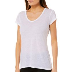 C&C California Womens Sport Solid Burnout Top