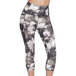 Skechers Womens Ink Floral Print Midcalf Capri Leggings