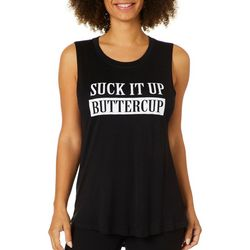 Miken Womens Suck It Up Buttercup High-Low Tank Top