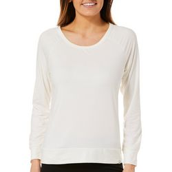 Marika Womens Lively Solid Mesh Back Long Sleeve Top