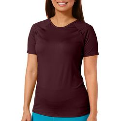 Copper Fit Womens Solid Zipper Shoulder Top