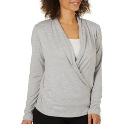 Copper Fit Womens Solid Cool Mint Infused Faux Wrap Top