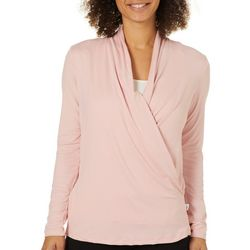 Copper Fit Womens Solid Lavender Infused Faux Wrap Top