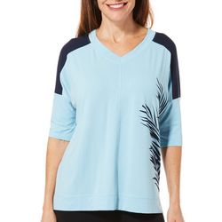 FUDA Womens Leaf Print V-Neck Short Sleeve Top
