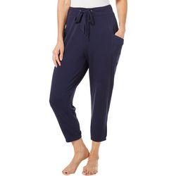 FUDA Womens Solid Athletic Drawstring Capri Pants