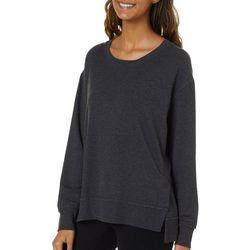 FUDA Womens Solid Heathered Long Sleeve Top