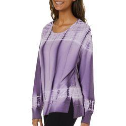FUDA Womens Tie Dye Split Hem Long Sleeve Top