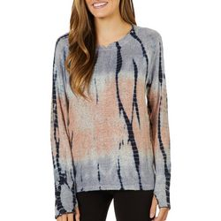 FUDA Womens Tie Dye Print Long Sleeve Top