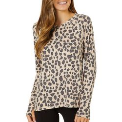 FUDA Womens Animal Print Long Sleeve Top