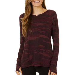 FUDA Womens Camo Print Long Sleeve Top