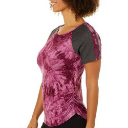Love Mood Womens Tie Dye Ruched Side Top