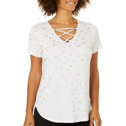 Life Worx by Gloria Vanderbilt Womens Avery Star Print Top
