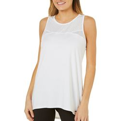 Nanette Lepore Womens Perforated Hi-Low Tank Top