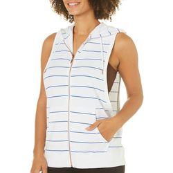 Nanette Lepore Womens Stripe Zipper Front Hooded Jacket