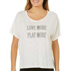 Nanette Lepore Womens Love More Play More Screen Print Top