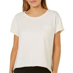 Nanette Lepore Womens Solid Chest Pocket T-Shirt
