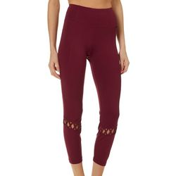 Nanette Lepore Womens Solid Lattice Lace Crop Leggings
