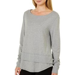 Nanette Lepore Womens Lace Me Up Back Heathered Tunic Top