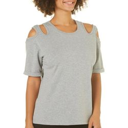 Nanette Lepore Womens Grey Double Cold Shoulder Top