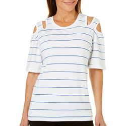 Nanette Lepore Womens Stripe Double Cold Shoulder Top