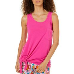 Love. Life. Live. Womens Solid Side Tie Tank Top