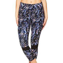 Gaiam Womens Paint Swirl Lux Mesh Capri Leggings