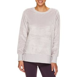 Gaiam Womens solid Lux Faux Fur Pull-Over Sweatshirt