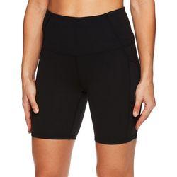 Gaiam Womens Solid Mesh Pocket High Rise Shorts