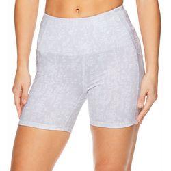Gaiam Womens Jaime Print Mesh Pocket High Rise Shorts