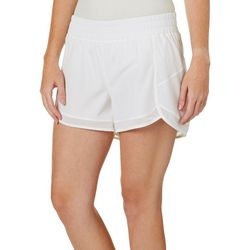 Gaiam Womens Solid Mesh Trim Woven Shorts